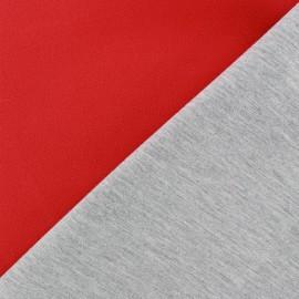 Tissu double jersey - rouge/gris x 10cm