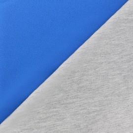 Tissu double jersey - bleu/gris x 10cm