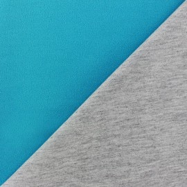 Tissu double jersey - turquoise/gris x 10cm