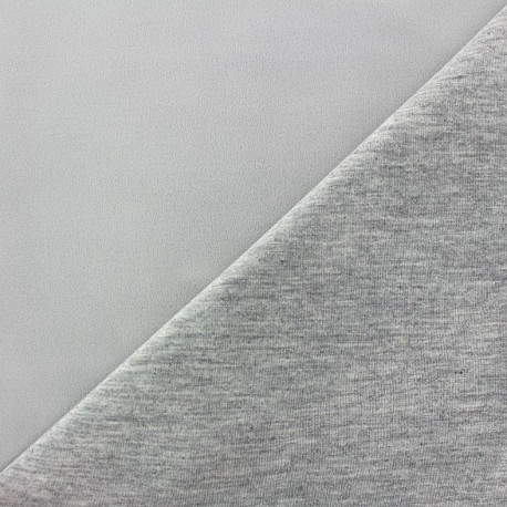 Double jersey fabric - ecru/grey x 10cm
