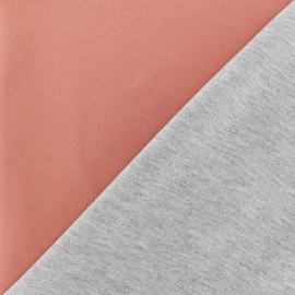 Tissu double jersey - brique/gris x 10cm