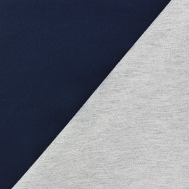 Tissu double jersey - marine/gris x 10cm