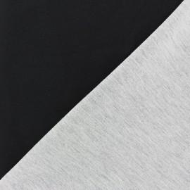 Tissu double jersey - noir/gris x 10cm