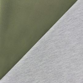 Tissu double jersey - vert kaki/gris x 10cm