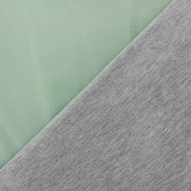 Tissu double jersey - vert d'eau/gris x 10cm