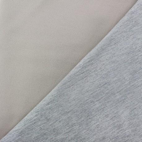 Double jersey fabric - beige light/grey x 10cm
