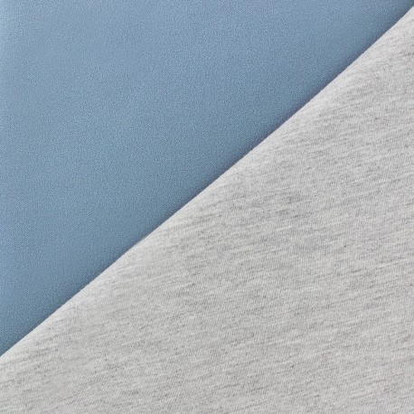 Tissu double jersey - bleuet/gris x 10cm