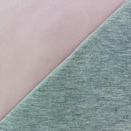 Tissu double jersey - rose dragée/gris x 10cm