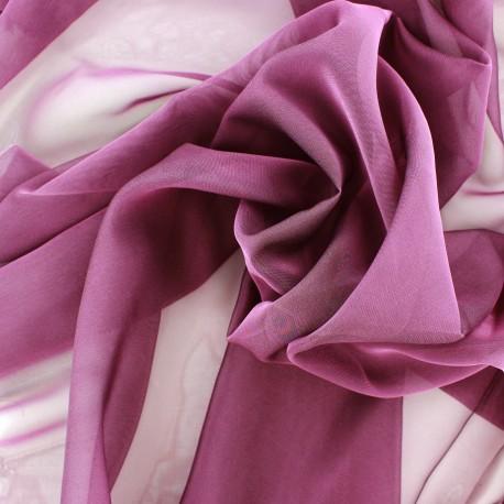 Tissu mousseline touché soie - prune x 50cm