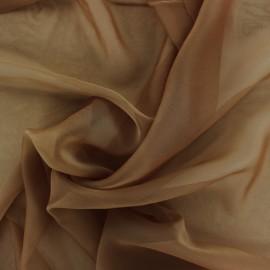 Tissu mousseline touché soie - marron x 50cm