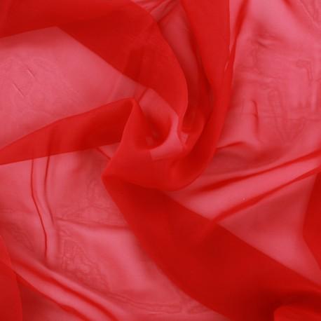 Tissu mousseline touché soie - rouge x 50cm
