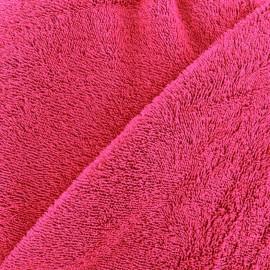 Tissu éponge fond noir- fuchsia x 10cm