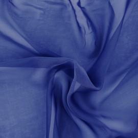 Tissu mousseline touché soie - Bleu x 50cm