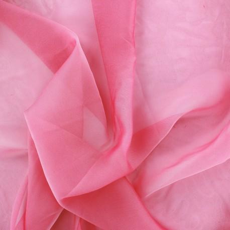 Tissu mousseline touché soie - rose x 50cm