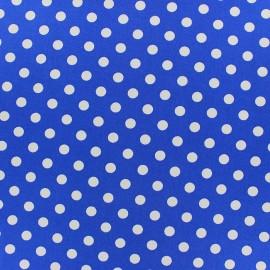 Tissu coton pois 8mm - blanc/bleu roi x 10cm