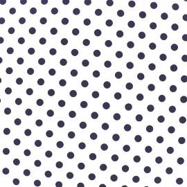 Tissu coton pois 8mm - blanc/bleu nuit x 10cm