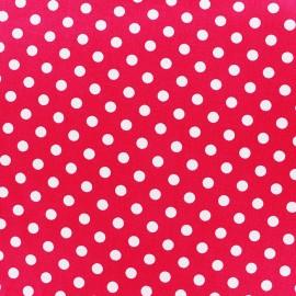 Tissu coton pois 8mm - blanc/fuchsia x 10cm