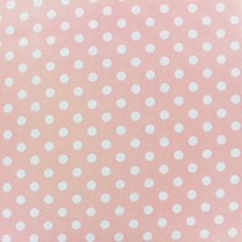 ♥ Coupon 50 cm X 150 cm ♥ Tissu coton lycra pois 8mm - blanc/rose camay