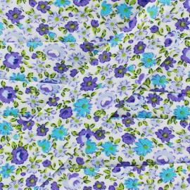 Biais Petites Fleurs - violet/bleu  x 1m
