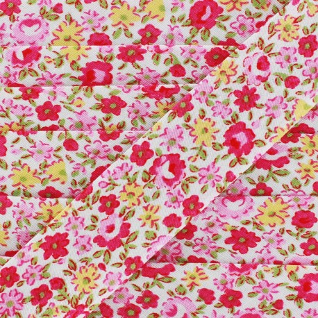Biais Petites Fleurs - jaune/rose x 1m
