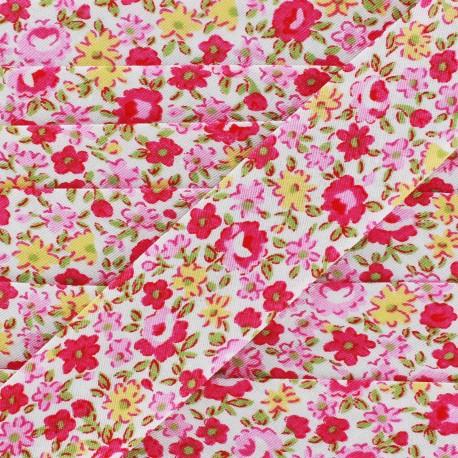 Bias Petites Fleurs  - yellow/pink x 1m