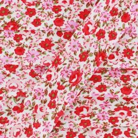 Biais Petites Fleurs - rouge/rose x 1m