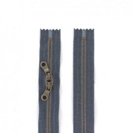 """Fermeture éclair métal double curseur """"coton délavé"""" 60cm - jeans"""