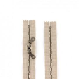 """Fermeture éclair métal double curseur """"coton délavé"""" 60cm - beige"""