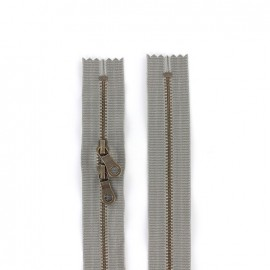 "Dual separating metal zipper ""coton délavé"" 60cm - grey"