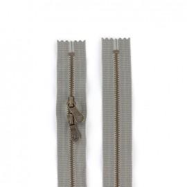 """Fermeture à glissière YKK métal double curseur """"coton délavé"""" 60cm - gris"""