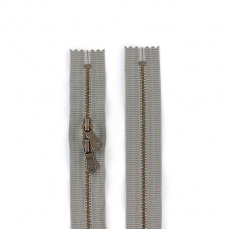 "Dual separating metal zipper ""coton délavé"" 60cm - dark grey"
