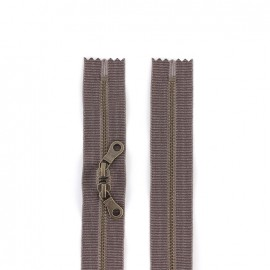 """Fermeture éclair métal double curseur """"coton délavé"""" 60cm - marron"""