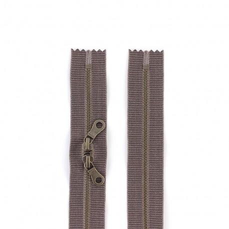 """Dual separating metal zipper """"coton délavé"""" 60cm - brown"""