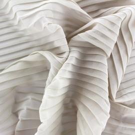 Tissu crêpe léger plissé - beige clair x 50cm