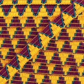 Galon réversible ZigZag - jaune/violet x 1m