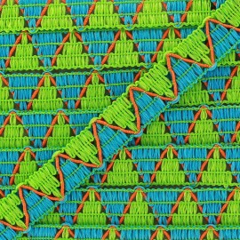 Reversible Braid ribbon ZigZag green/blue x 1m