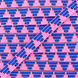 Reversible Braid ribbon ZigZag Fuchsia/blue x 1m