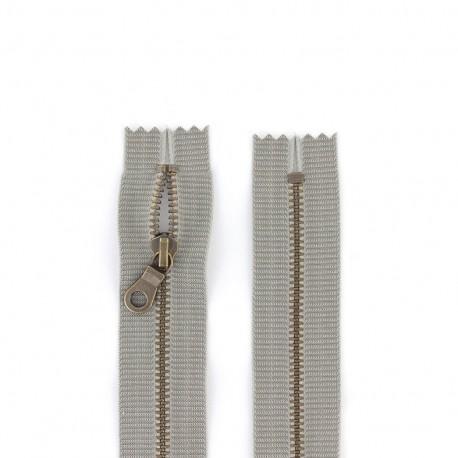 """Metal zipper """"coton délavé"""" - grey"""