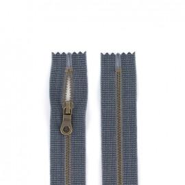 """Fermeture à glissière YKK métal """"coton délavé"""" - jeans"""