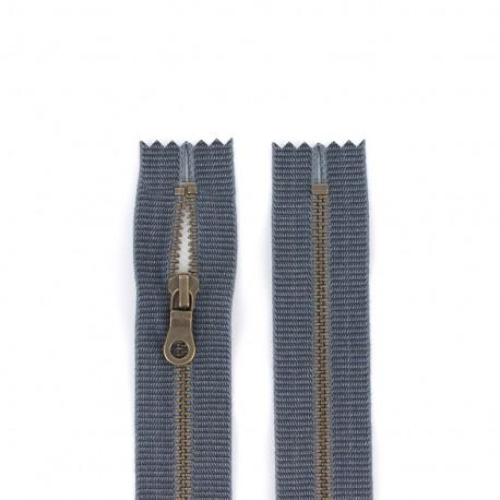 """Fermeture éclair métal """"coton délavé"""" - jeans"""