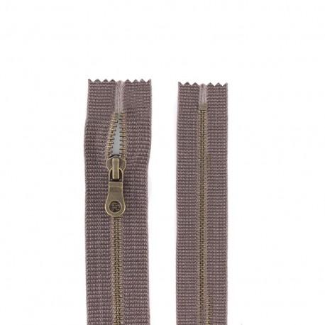 """Metal zipper """"coton délavé"""" - brown"""