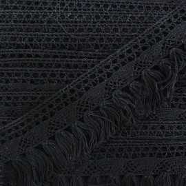 Frange dentelle Bohème - noir x 1m