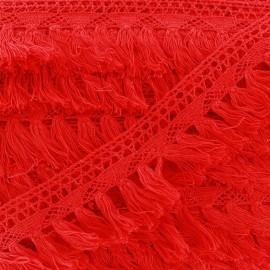 Franges dentelle Bohème - rouge  x 1m