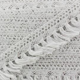 Frange dentelle Bohème - blanc x 1m