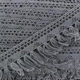 Franges dentelle Bohème - gris x 1m