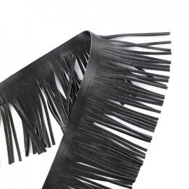 Frange simili cuir réversible Houston 10cm - noir x 50cm