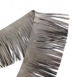 Frange simili cuir réversible Houston 10cm - gris métallisé x 50cm