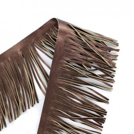Frange simili cuir réversible Houston 10cm - marron métallisé x 50cm