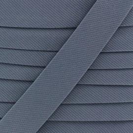 Biais Piqué uni - gris bleu