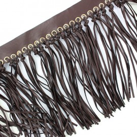 Frange nouée simili cuir - marron foncé  x 20cm